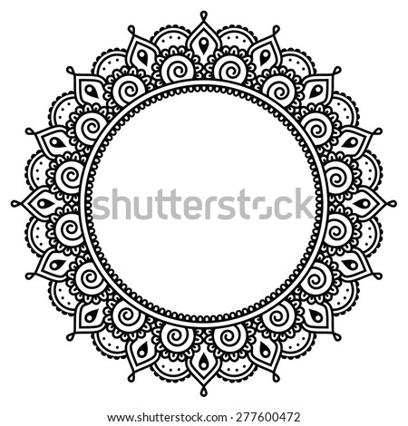 Mehndi, Indian Henna tattoo round pattern - stock vector