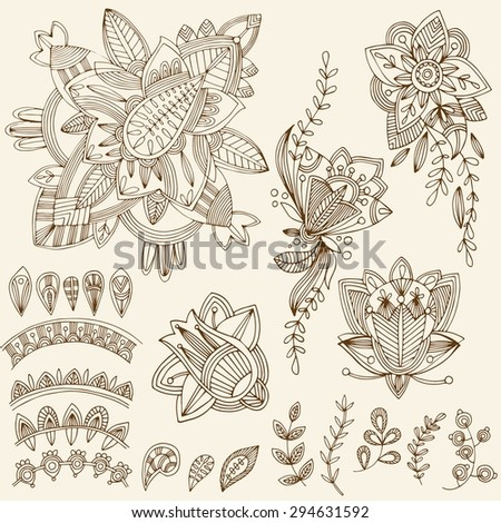 Mehndi Tattoo Doodles Set 2- Abstract Floral Illustration Design Elements on white background - stock vector