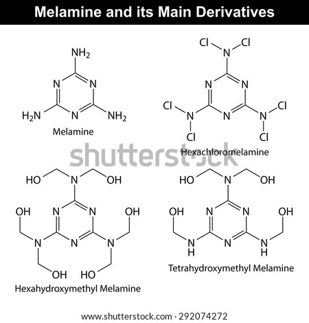 Melamine and its main derivatives, molecular structural chemical formulas, 2d vector, eps 8