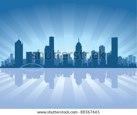 Melbourne skyline with reflection in water