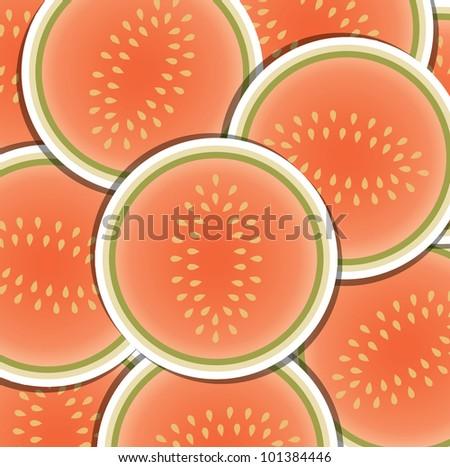 Melon slice background/card in vector format. - stock vector