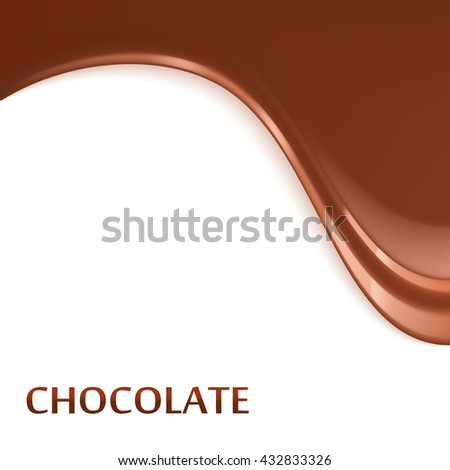 Melted flowing chocolate dripping vector illustration.