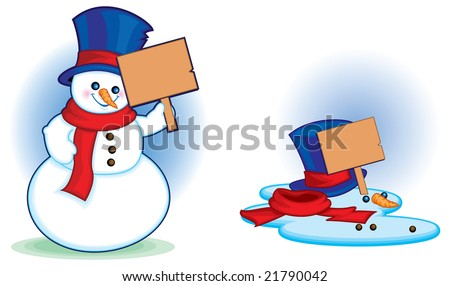 Melted Snowman with Sign - stock vector
