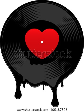 Melted vinyl record with heart. Vector illustration. - stock vector