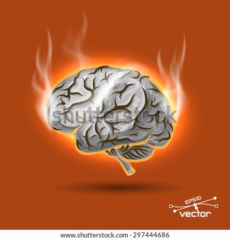 Melting brain - stock vector