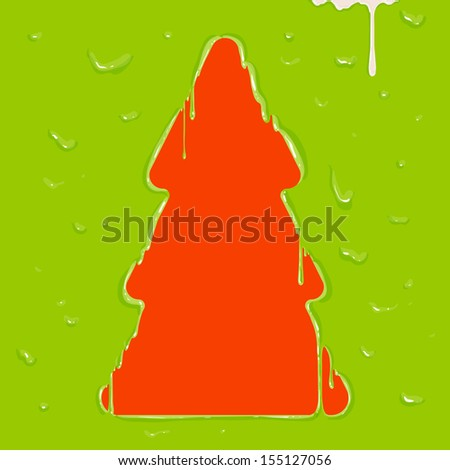 Melting Christmas Tree, paint drops. Xmas abstract design. Dripping paint design - stock vector