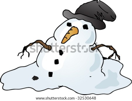 Melting depressed snowman with tophat, cartoon comic illustration vector - stock vector