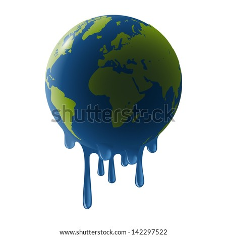 Melting earth, concept of global warming, eps10 vector - stock vector