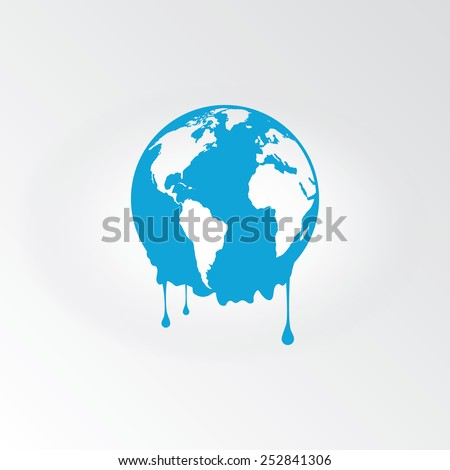 Melting earth - global warming - stock vector