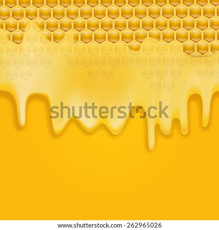 melting honey on honeycombs background. vector illustration - stock vector