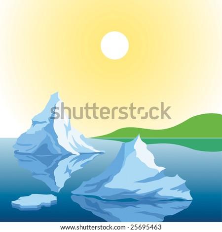 Melting Iceberg in ocean water against green island - stock vector