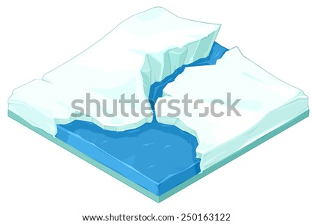 Melting Icecaps depicting global warming. Melting Polar Icecaps Isometric view of polar icecaps melting. - stock vector