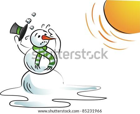 Melting snowman A snowman starts to melt under the hot sun. EPS 8 vector. - stock vector
