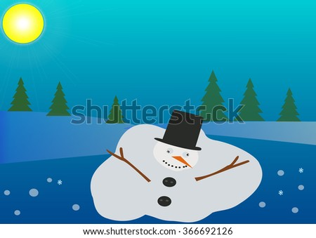 Melting snowman on the snowy blue background with sun - stock vector
