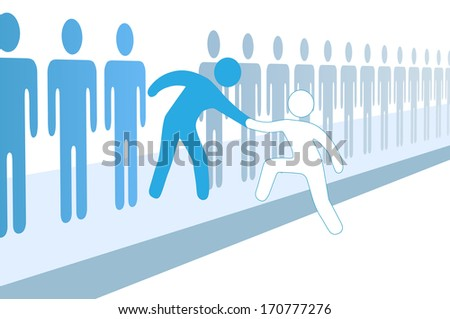 Member gives a hand up to help new person join social group or business team - stock vector