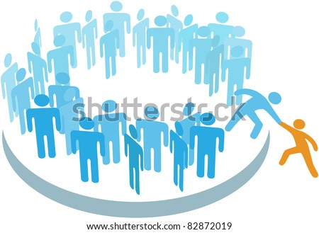 Member helps a person sign up to join a large group or company - stock vector