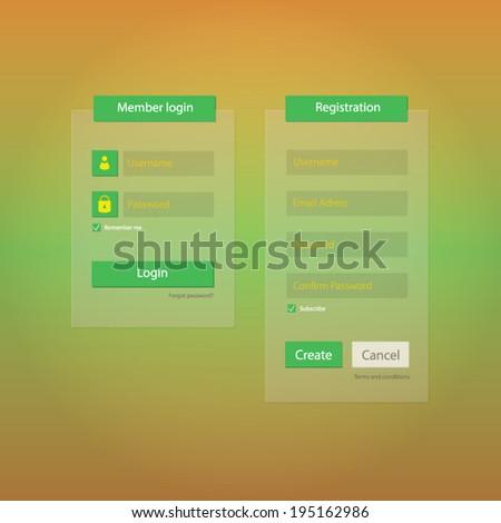 Member login and registration form ul elements, flat design - stock vector