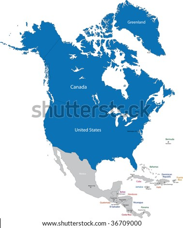 North America High Detailed Vector Map Stock Vector - Us canda greenland map with counties