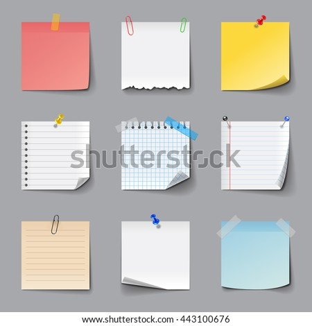 Memo notes icons detailed photo realistic vector set - stock vector