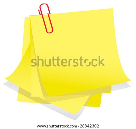 Memo notes with paper clip - stock vector