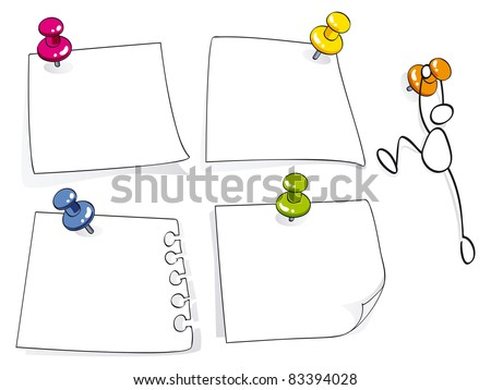 memo papers with color pins - stock vector