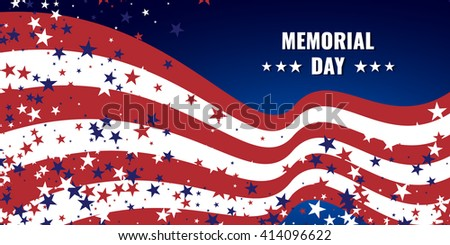 Memorial Day abstract background with waving american flag and starry background. Stock vector.