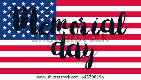 Memorial Day Banner with american flag. Vector