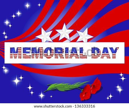 Memorial Day. Banner with beautiful text and red poppies. Vector illustration.