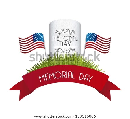 memorial day card over white background. vector illustration - stock vector