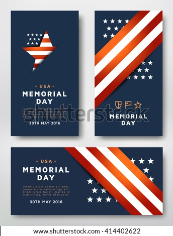 Memorial Day cards design vector template. Cards designed in the American national colors.