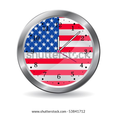 memorial day clock isolated on white background. eps10