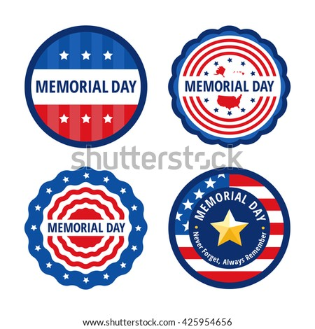 Memorial Day flat vector greeting cards in circle shapes, patriotic badges and labels