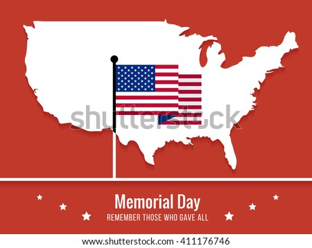 Memorial day greeting card. Memorial day minimal background.