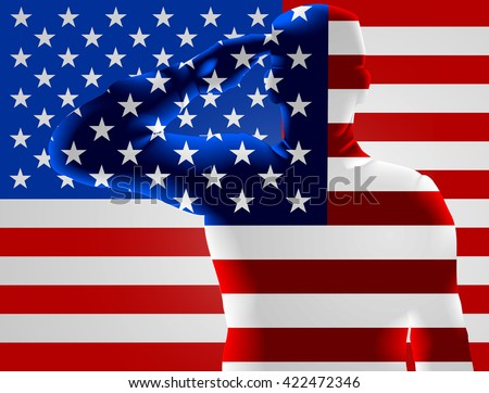Memorial Day or Veterans Day design of an American Soldier saluting in front of an American flag - stock vector