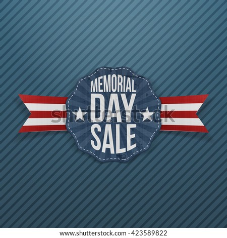 Memorial Day Sale festive Emblem with Ribbon