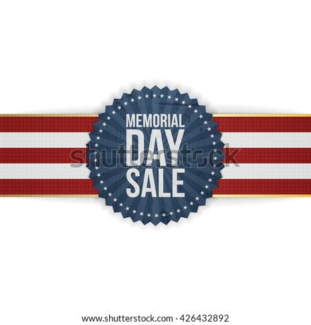 Memorial Day Sale greeting Banner and Ribbon - stock vector