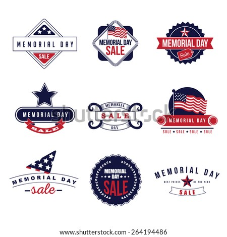 Memorial Day Sale icons EPS 10 vector royalty free stock illustration for greeting card, ad, promotion, poster, flier, blog, article, ad, marketing, retail shop, brochure, signage - stock vector
