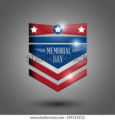 memorial day symbol gray background. vector illustration - stock vector