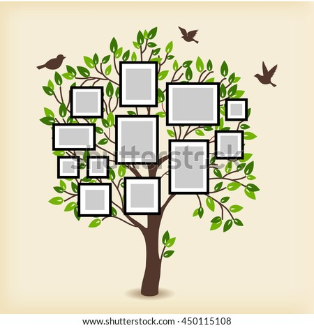 Memories Tree Picture Frames Insert Your Stock Vector 450115108