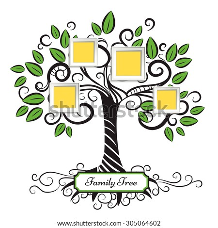 Memories vector art tree with photo frames. Insert your picture into frame. - stock vector
