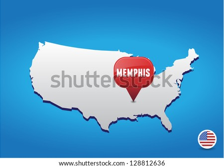 Stock Images Similar To ID Overlapping Memphis Text With - Memphison us map
