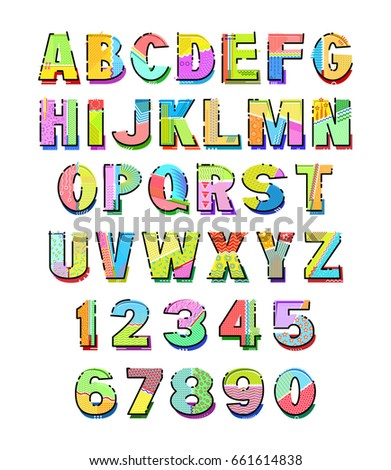 Memphis style alphabet uppercase letters numbers stock vector memphis style alphabet uppercase letters and numbers template for your design works vector spiritdancerdesigns Image collections