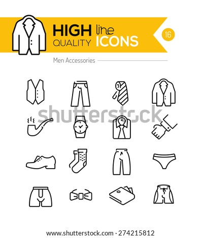 Men accessories line icons series - stock vector