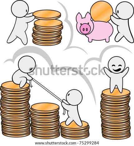 Men and many of gold coins - stock vector
