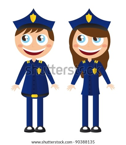 men and woman police with hat cartoons vector illustration - stock vector