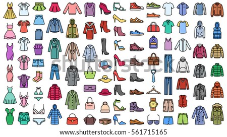men women clothes vector icon set stock vector royalty free