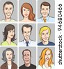 men and women faces vector collection - stock vector