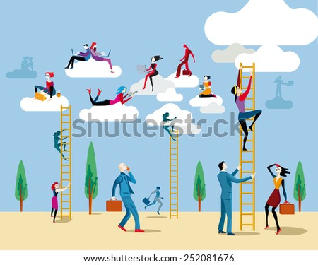 Men and women go up heaven by a ladders to access the cloud from which they work on line and share information and knowledge. - stock vector