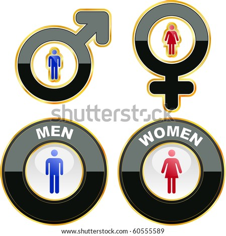 Men and women icons. Graphic elements set. - stock vector