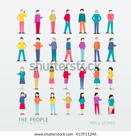 Men and Women People Icon with Different Poses Collection Vector Design